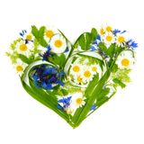Heart Made of Flowers and Grass Royalty Free Stock Image