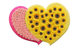 Heart Made of Flowers Isolated on White Backgroun Royalty Free Stock Image