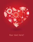 Heart made from flowers in red and pink colours. Vector illustration Royalty Free Stock Photography