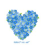 Heart made of forget-me-not flowers Royalty Free Stock Images