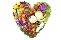 Heart made of fruits and vegetables Royalty Free Stock Photo
