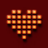 Heart made of glossy glowing glass cubes pixels, gaming, love bacground  render. Heart made of glossy glowing glass cubes pixels, gaming, love bacground 3d Stock Photos