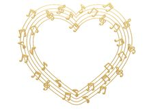Heart made with gold musical notes.3D illustration. Heart made with gold musical notes. 3D illustration royalty free illustration