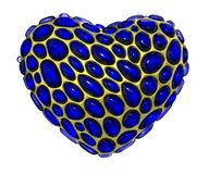 Heart made of golden shining metallic 3D with blue glass isolated on white background. 3d rendering vector illustration