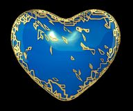 Heart made in golden shining metallic 3D with blue paint isolated on black background. royalty free stock photography