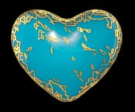 Heart made in golden shining metallic 3D with blue paint isolated on black background. stock photo