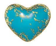 Heart made in golden shining metallic 3D with blue paint isolated on white background. 3d rendering royalty free stock photos