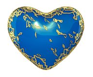 Heart made in golden shining metallic 3D with blue paint isolated on white background. stock image