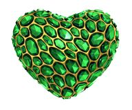 Heart made of golden shining metallic 3D with green glass isolated on black background. 3d rendering royalty free stock photo