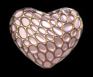 Heart made of golden shining metallic 3D with pink glass isolated on black background. 3d rendering stock photo