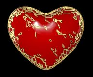 Heart made in golden shining metallic 3D with red paint isolated on black background. 3d rendering stock photography