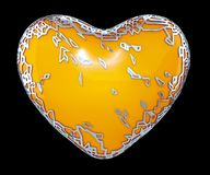 Heart made in golden shining metallic 3D with yellow paint isolated on black background. 3d rendering stock photos