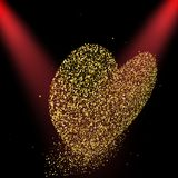 Heart made with golden stars. Two red lights. Vector illustratio. N vector illustration