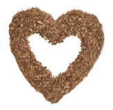 Heart made from grated chocolate Royalty Free Stock Photo