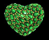 Heart made of green diamond isolated on black background. 3d. Rendering Royalty Free Stock Photo