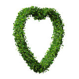 Heart made from green leave. Beautiful graphic made of green leaves on gradient background Stock Photo