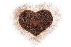 Heart made of ground coffee and coffee beans Stock Photo