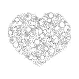 Heart Made Of Hand Drawn Flowers, Fruits, Leaves, Doodles. Page Stock Photo