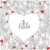 Heart made of hand drawn ice cream. Handwritten lettering. Vector elements for labels, logos, badges, stickers or icons royalty free illustration