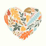 Heart made of hand-drawn leaves. Vector illustration royalty free illustration
