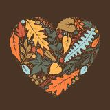 Heart made of hand painted leaves silhouettes. Vector illustration vector illustration