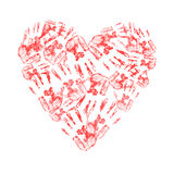 Heart made of handprints. On white background Stock Images