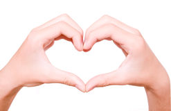 Heart made from hands. On white background stock photos