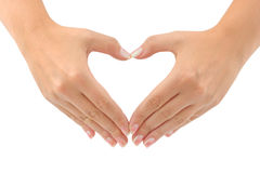 Heart made of hands. Isolated on white background Stock Photo