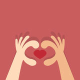 Heart made with hands. Royalty Free Stock Photography