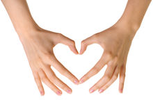 Heart made of hands isolated. On white background Royalty Free Stock Photos