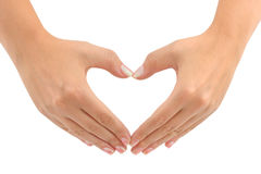 Heart made of hands. Isolated on white background Royalty Free Stock Photos
