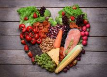 Heart made of healthy food stock photos