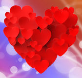 Heart Made With Hearts Shows Passionate Love Stock Images