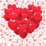 Heart Made With Hearts Shows Romantic Lover Or Stock Image