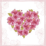 Heart made from Hibiscus flowers Stock Photography