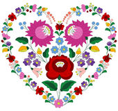 Heart made with Hungarian embroidery pattern Stock Photography