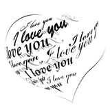Heart made of I love you phrase stock illustration