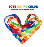 Heart made of intertwined colored ribbons Royalty Free Stock Photo
