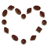 Heart made of isolated chocolate candies Royalty Free Stock Photo