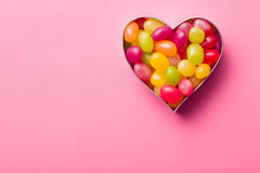 Heart made from jelly beans Stock Photos