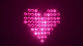 Heart made of light bulbs stock footage