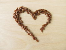 Heart made of linseed Royalty Free Stock Photos