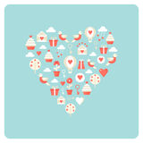 Heart Made of Love and Valentine Day Symbol Icons Royalty Free Stock Photo
