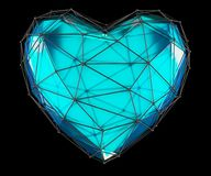 Heart made in low poly style blue color isolated on black background. 3d Stock Photography