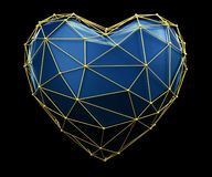 Heart made in low poly style blue color isolated on black background. 3d stock illustration