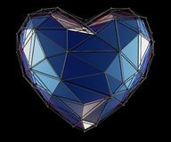 Heart made in low poly style blue color isolated on black background. 3d. Rendering royalty free stock photo