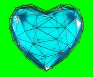 Heart made in low poly style blue color isolated on green background. 3d. Rendering Vector Illustration
