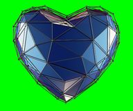Heart made in low poly style blue color isolated on green background. 3d vector illustration