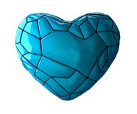 Heart made in low poly style blue color isolated on white background. 3d Stock Photos