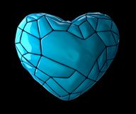 Heart made of low poly style blue color plastic isolated on black background. 3d. Rendering Royalty Free Stock Photos
